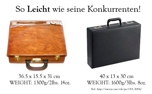 The Travelling-Desk® is a patented,<br>new invention: an attaché case and a writing desk, in one!